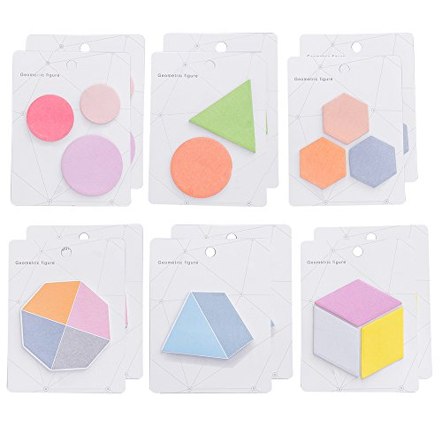 MyLifeUNIT Small Sticky Notes, Geometric Figure Self-Stick Notes with Different Shapes, 30 Pcs x 12 Pack