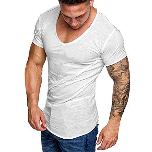 Mens Short Sleeve Shirt Pure Color Casual Fashion White