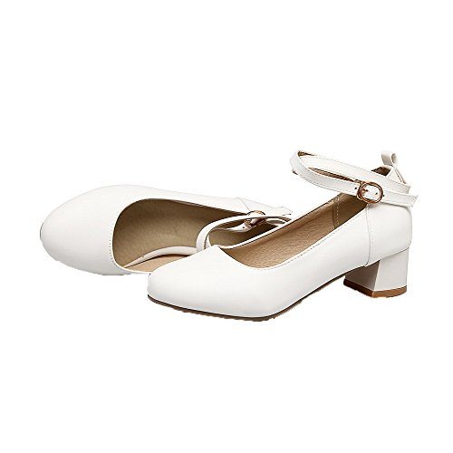 Odomolor Women's Buckle Round-Toe Low-Heels PU Solid Pumps-Shoes, White, 37