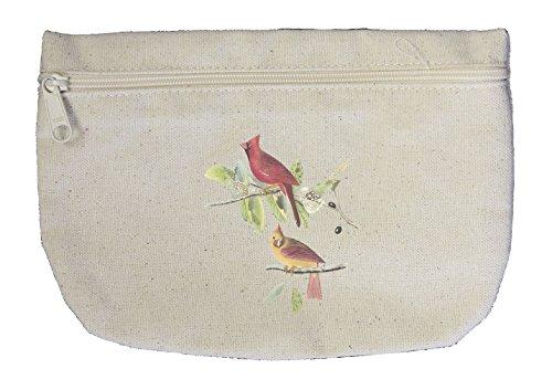 Northern Cardinal James Audubon Birds Canvas Pouch with Zipper, Makeup Bag