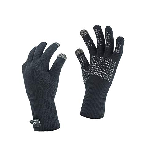 SEALSKINZ Unisex Waterproof All Weather Ultra Grip Knitted Glove, Black, Large