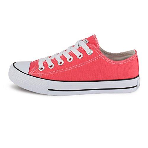 Best-botas para mujer zapatilla zapatillas zapatos de cordones estilo deportivo Rosso (Silberrot)