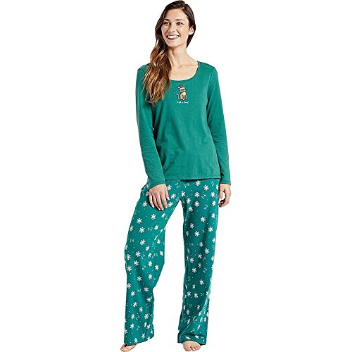 Life is good Jersey Sleep P Lig Snowflakes Pants, Forest Green, Large