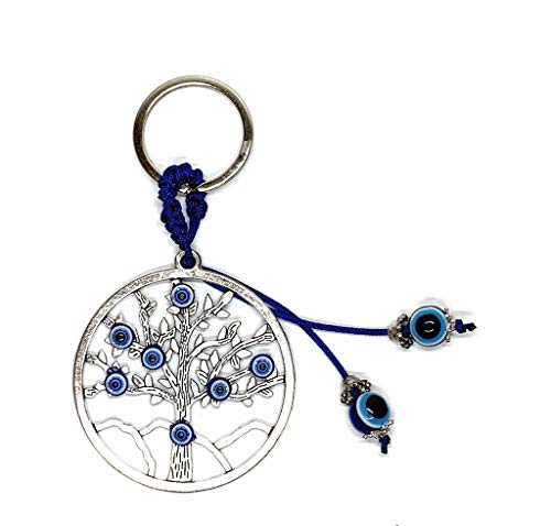 Lucky Tree of Life and Wisdom with Evil Eye Good Luck Keychain Ring, Handbag Charm for Good Luck and Blessing, Great Gift (Eye Symbol)