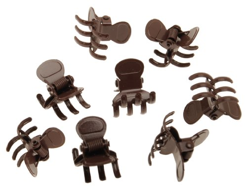 L. Erickson Clip & Go Mini Metal Jaw Hair Clips, Chocolate, Set of 8 - Strong Hold For Easy Styling Solutions ()