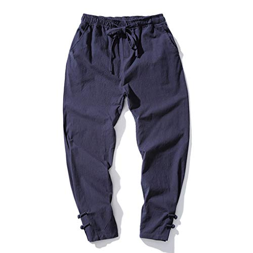 TIFENNY Nine Pants for Men Solid Color Striped Cotton Linen Long Pants Casual Elastic Waistband Beam Foot Trousers Sweatpants Navy