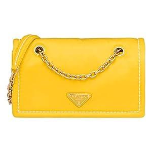 Prada Yellow Tessuto Nylon Chain Flap Bag 1BD199