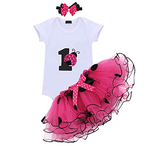 - Baby Girls 3PCS Ladybug One Polka Dots 1st Birthday Outfit Romper with Tutu Skirt and Headband Set Hot Pink