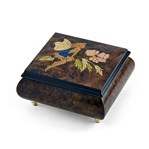 Enchanting Fairy And Flower Wood Inlay Music Box - Over 400 Song Choices - Reich Mir Die Hand Mein Laben - SWISS (+$40) (Box Wood Mira)