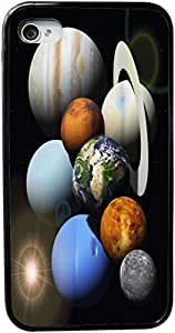 Rikki KnightTM Solar System Planets Design iPhone 4 & 4s Black Case Cover (Black Rubber with bumper protection) for Apple iPhone 4 & 4s