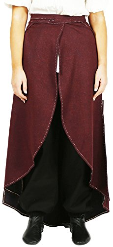 Live From E Halloween Costumes (MAYA Medieval Wool Skirt by CALVINA COSTUMES -Unisex- Made in TURKEY, S/M-Burg.)