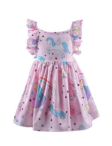 (Tutu.kk Toddler Girls Animal Print Dress Backless Princess Sundress Summer Party Fancy Dresses Pink 6-7T)