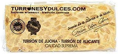 Turrón duro Alicante artesano. Tableta dura o barra de 300 gramos ...
