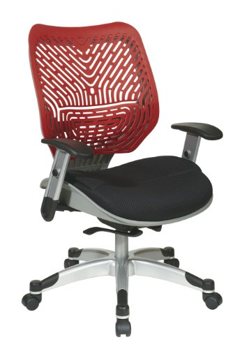SPACE Seating REVV Self Adjusting SpaceFlex Cosmo Backrest Support and Padded Raven Mesh Seat with Adjustable Arms and Platinum Finish Base Managers Chair