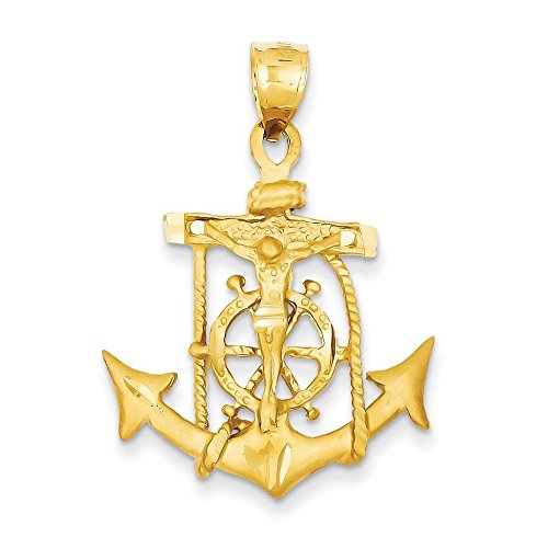 14K Yellow Gold Mariners Cross Pendant - (1.57 in x 1.02 in) (Mariners Gold 14k Yellow Cross)