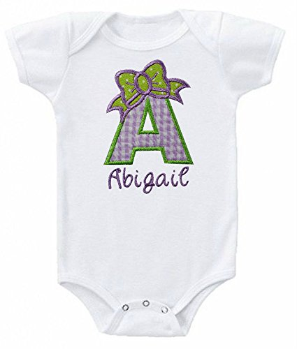 Baby Girl Embroidered Initial Onesie Bodysuit - Your Custom Name (0-3 Months - Short Sleeve, Lavender) - Embroidered Short Sleeve Onesie