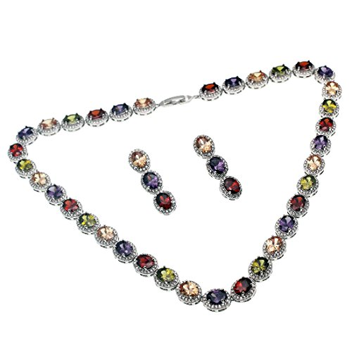 - Hermosa Sets Necklace Earrings Blue Sapphire Emerald Topaz Gemstone Women Jewelry (Multicolor)