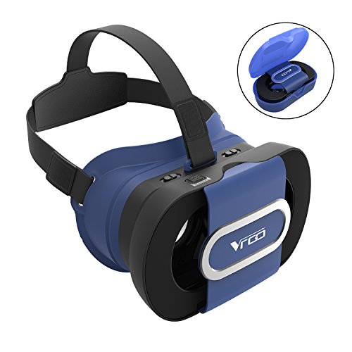 Foldable Portable 3D VR Glasses, Adjustable Virtual Reality VR Headset for 4.5 - 6 Inch Screen Smart Phone -Blue
