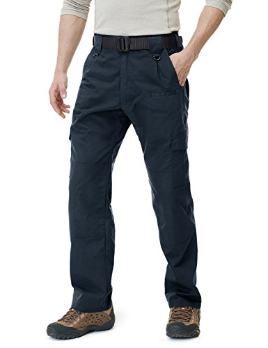 CQR CQ-TLP104-NVY_40W/34L Men's Tactical Pants Lightweight EDC Assault Cargo TLP104
