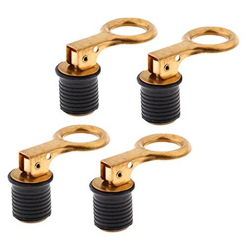 Snap Tite Bailer Plug (Homyl 4 Pieces Fully Adjustable Brass Handle Snap-Tite Bailer Drain Plug 1'' Boat Plumbing Fittings)