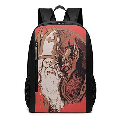 Christmas Belsnickel Krampus Santa Claus School Travel Casual Daypack Backpack for Business College Women Men Laptop Large Computer Bag ()