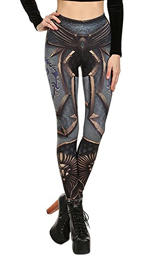 QZUnique Women's Summer Fashion Digital Printed Slim Fit Elastic Leggings