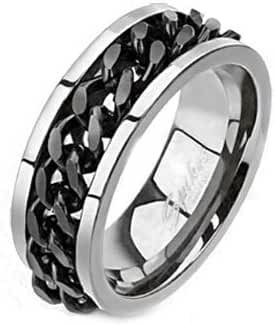 Solid Titanium Comfort-Fit Band Ring with Center Black IP Plated Chain Spinner, Width 8MM