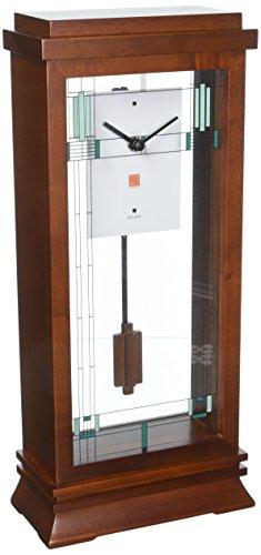 """Bulova B1839 Frank Lloyd Wright Willits Mantel Clock, 14"""", Walnut"""