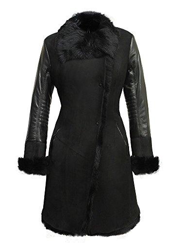 Luxury Women's Winter Real Sheepskin Shearling Merino Toscana Leather Coat (S)