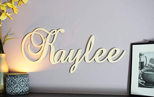 - Custom Personalized Large Wooden Name Sign Cursive Brock Script Letters Hanging Plaque Carved Wall Art Decor for Nursery or Kids Room 12-28 inch