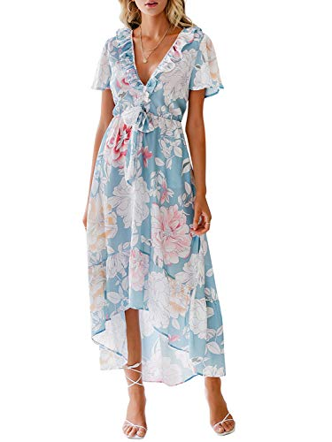 Floral Chiffon Wrap (Miessial Women's Boho V Neck Floral Chiffon Dress Backless Beach Split Maxi Dress with Belt (6/8, Blue))