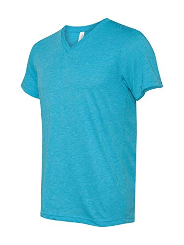 (Bella 3415 Unisex Triblend Short Sleeve V-Neck Tee - Aqua Triblend,)