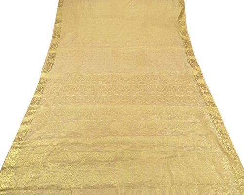 Skirts 'N Scarves Women's Art Silk Brocade Saree with Blouse Piece (Cream) (White Silk Saree)