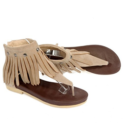 Beige Sandals Toe Flats Women LongFengMa Shoes Rivets Clips Zipper Tassel dwzqvvYI
