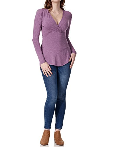 REGNA X Boho for women skater line hem deep v neck feminine purple heather large wrap drape tunic blouses with (Stretch Wrap Blouse)