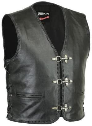 RKsports LACE Motorcycle Biker Clasp Full Leather Vest Waistcoat Black Tassel Cowhide