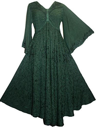 [206 DR Medieval Peasant Butterfly Bell Sleeve Dress (Large, Green)] (Green Medieval Dress)