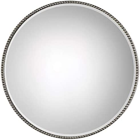 Uttermost 09252 Stefania Antiqued Silver Beaded Round Wall Mirror