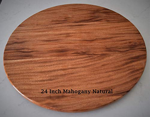 - 24 inch Mahogany Lazy Susan with a natural finish most unusual design for Mahogany