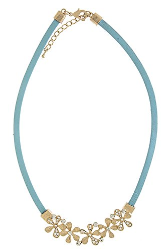 [TRENDY FASHION JEWELRY FLORAL ACCENT LEATHER NECKLACE BY FASHION DESTINATION | (Turquoise)] (Lobster Claw Costume Pattern)