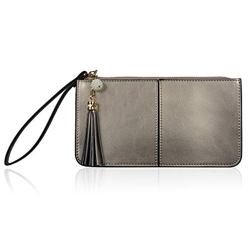 Price comparison product image Befen Soft Leather Wristlet Phone Wristlet Wallet Clutch with Wrist Strap / Card slots / Cash pocket- Fit iPhone 6S Plus / Samsung Note 5 - Silver