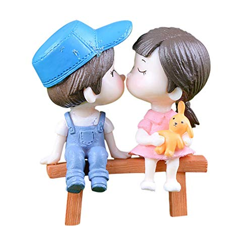 Adarl 2pcs Couple +1pc Bench for Mini Plant Pots Decor Art Home Decor Landscape Ornament DIY Garden Gift Blue