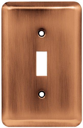 Franklin Brass 64135 Stamped Steel Round Single Toggle Switch Wall Plate/Switch Plate/Cover, Antique (Copper Cover)