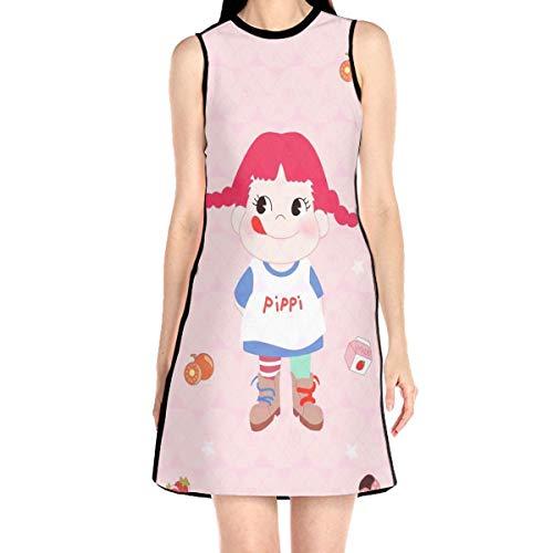 Laur Women¡¯s Sleeveless Scuba Sheath Dress Lolipop Girl Pink Print Casual/Party/Wedding Dress L -