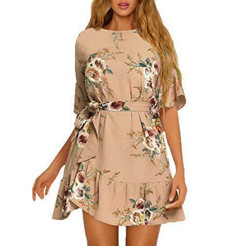 Women Summer Dress,Ladies Ruffles Short Sleeve Floral Print Evening Party Mini Dress Khaki]()