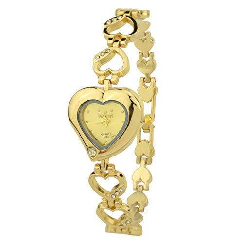 (loyalt Women's Diamond Bracelet Watch Female Heart-Shaped Wristwatches Lady Analog Quartz Wristwatch Watches Sports Wrist Watch Heart-Shaped Band Wrist Watch)