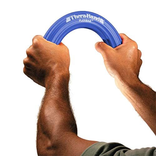 TheraBand FlexBar Resistance Bar for Medial Epicondylitis, Relieve Tendonitis Pain & Improve Grip Strength, Tennis Elbow, Golfers Elbow, and Tendinitis, Blue, Heavy, Advanced by TheraBand (Image #2)