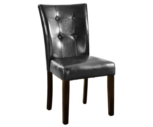 Roundhill Furniture Blended Leather Parson Dining Side Chairs with Espresso Legs, Black, Set of 2 by Roundhill