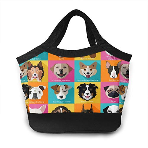 Boys Girls Insulated Neoprene Lunch Bag - Set Of Flat Popular Breeds Of Dogs Icons Personality Tote Handbag Lunchbox Food Container Cooler Warm Pouch For School Work Office