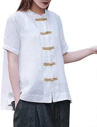0d5cee790c2 YESNO Women A-Line Dressy Linen Tops w Chinese Handcraft Qipao Frogs Summer  Casual